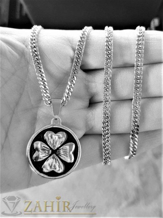 Дамски бижута - Дизайнерски медальон 2,5 см с четирилистна детелина на тънко стоманено синджирче 56 см, широко 0,3 см - K2031