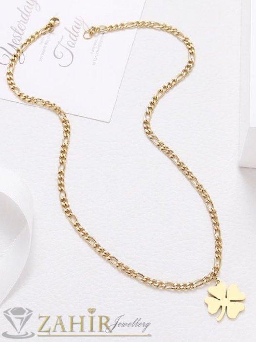 Дамски бижута - Стоманена детелина 2,5 см със златно покритие на верижка фигаро плетка, широка 0,5 см, 4 размера - K2032