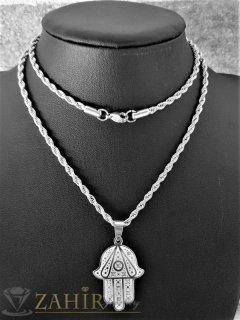 Символ ръката на Фатима 3,5 на 2,2 см с кристали, супер изработка на верижка 60 см, неръждаема стомана - K2034