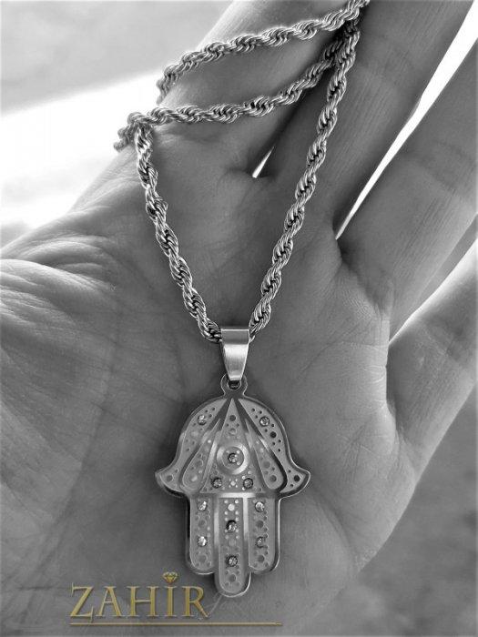 Дамски бижута - Символ ръката на Фатима 3,5 на 2,2 см с кристали, супер изработка на верижка 60 см, неръждаема стомана - K2034