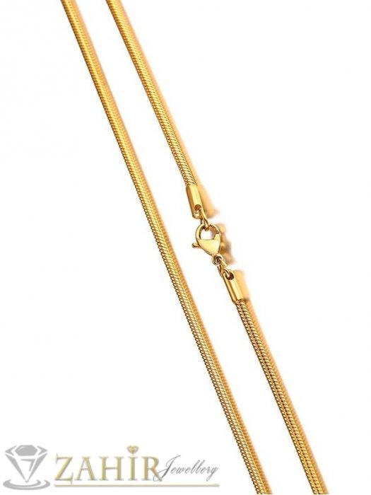 Дамски бижута - Много тънко нежно колие кръгла плетка от позлатена неръждаема стомана 50 см дълго, ширина 0,2 см - K2057