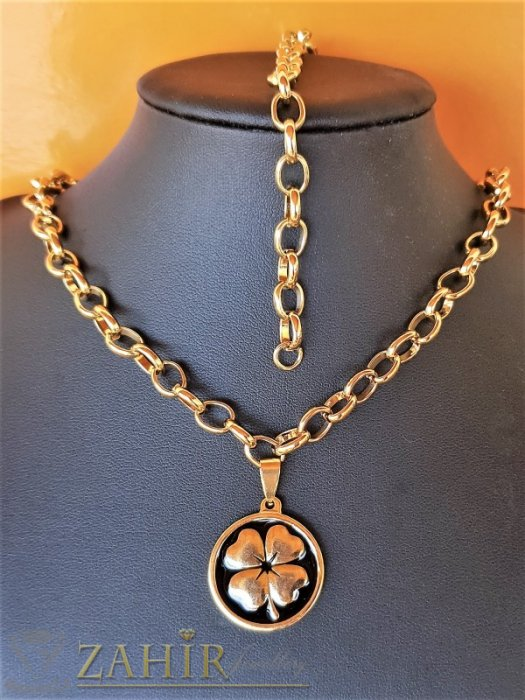 Дамски бижута - Колие и гривна с медальон 2,5 см с четирилистна детелина на хит стоманена верижка в 4 размера, широка 0,6 см - KO2089