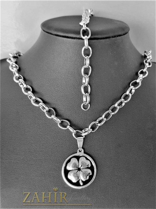 Колие и гривна с медальон 2,5 см с четирилистна детелина на хит стоманена верижка в 4 размера, широка 0,6 см - KO2090