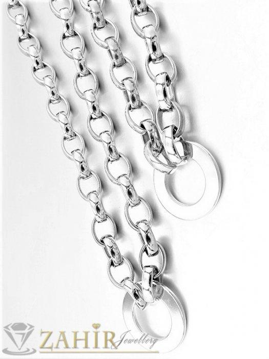 Дамски бижута - ХИТ висококачествен стоманен дамски комплект с полирани рингове 3 см, ланец и гривна в 4 размера - KO2092