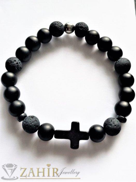 Дамски бижута - Едра черна гривна от лава камъни и оникс , топче 1 см, черно кръстче, 7 възможни дължини - MGA1562