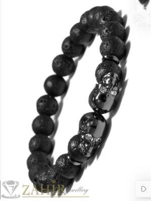 Впечатляваща гривна с 2 черни черепа с кристални очи и черни лава топчета 8 мм, 7 дължини - MGA1569