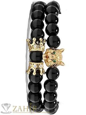 Супер яка двойна гривна с черен  оникс 10 мм с 2 коронки и грава на вълк в златист цвят, 7налични  дължини - MGA1575
