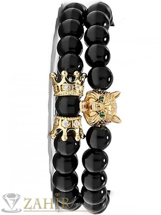 Дамски бижута - Супер яка двойна гривна с черен оникс 10 мм с 2 коронки и грава на вълк в златист цвят, 7налични дължини - MGA1575