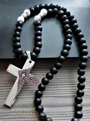 Масивен стоманен кръст с молитва 7 на 4 см на едро колие от черен оникс мат 10 мм ,налично в 3 дължини - MK1403