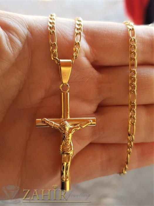 Бижута за мъже - Тънък изчистен кръст с Исус 4 на 2 см на тънка стоманена верижка фигаро плетка, широк 0,3 см, 4 дължини - ML1523