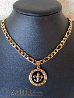 Уникален гравиран медальон 2, 4 см от стомана с черни детайли на фигаро верижка от стомана, широка 0, 6 см - ML1524