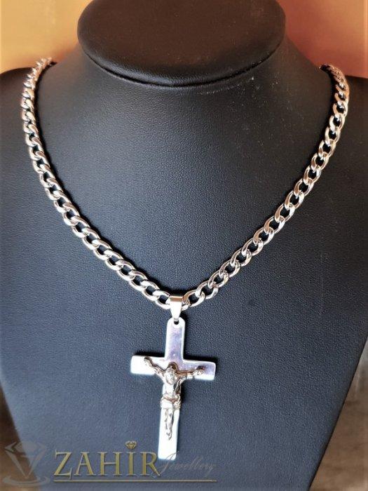 Бижута за мъже - Класически стоманен кръст с Исус 5 на 3 см на изчистен стоманен ланец в 4 размера, широк 0,6 см - ML1525