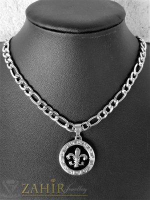Гравиран стоманен медальон 2,5 см на фигаро верижка от неръждаема стомана, широка 0,5 см, 4 дължини - ML1533