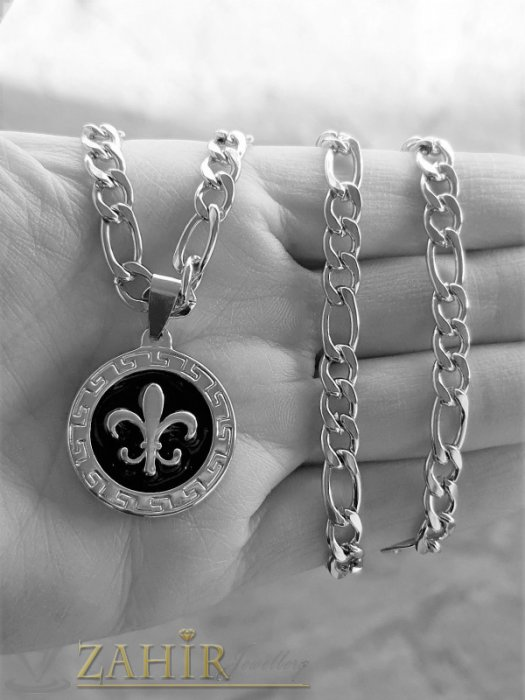 Колиета - Гравиран стоманен медальон 2,5 см на фигаро верижка от неръждаема стомана, широка 0,5 см, 4 дължини - ML1533