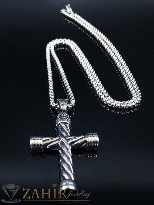 Възхитителен стоманен гравиран кръст 5 см изящна изработка на тънка стоманена верижка в 3 дължини - ML1534