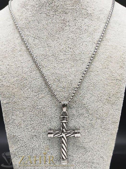 Бижута за мъже - Възхитителен стоманен гравиран кръст 5 см изящна изработка на тънка стоманена верижка в 3 дължини - ML1534