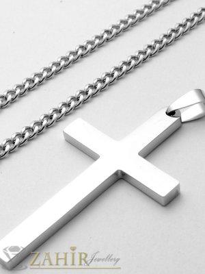 Класика-малък 3,5 на 2 см полиран стоманен кръст на верижка от стомана, 3 размера,0,3см ширина - ML1536