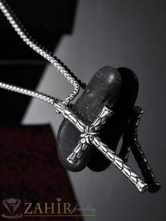 Най-висок клас гравиран кръст от стомана 6 на 3 см на тънка верижка 60 см от стомана - ML1538
