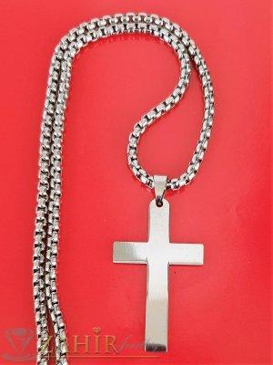 Класика - полиран кръст от стомана 4 на 2 см на тънка верижка 60 см от стомана, широка 0, 3 см - ML1540