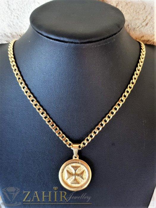 Уникален малтийски стоманен кръст на медальон 2,5 см на класическа стоманена верижка 0,4 см в 4 дължини - ML1542