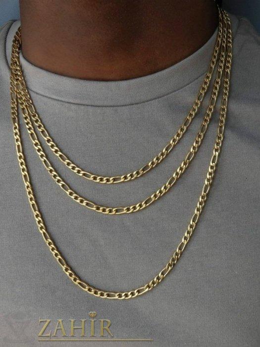 Бижута за мъже - Тънка верижка от неръждаема стомана със златно покритие фигаро плетка, широка 0,4 см, 4 налични дължини - ML1548