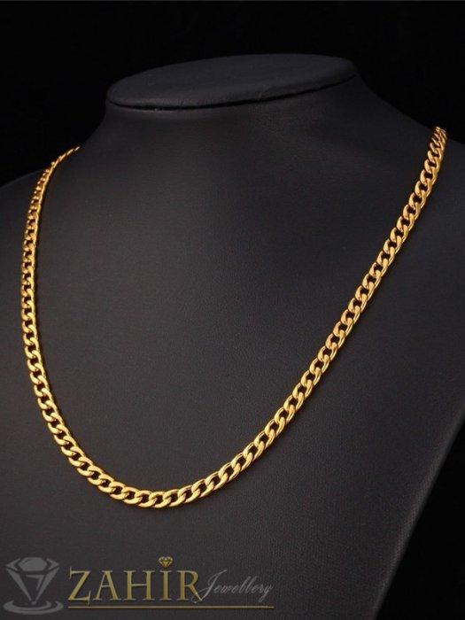 Бижута за мъже - Тънък стоманен синджир в 4 размера с нежни заоблени елементи, златно покритие, ширина 0,4 см - ML1551