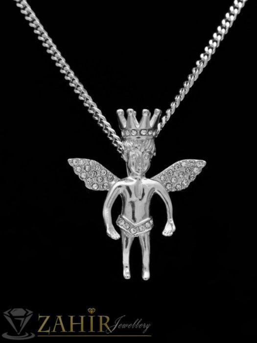 Великолепен кристален ангел с рзмери 4,5 на 4 см,изящна изработка на тънка стоманена верижка в 4 размера - ML1555