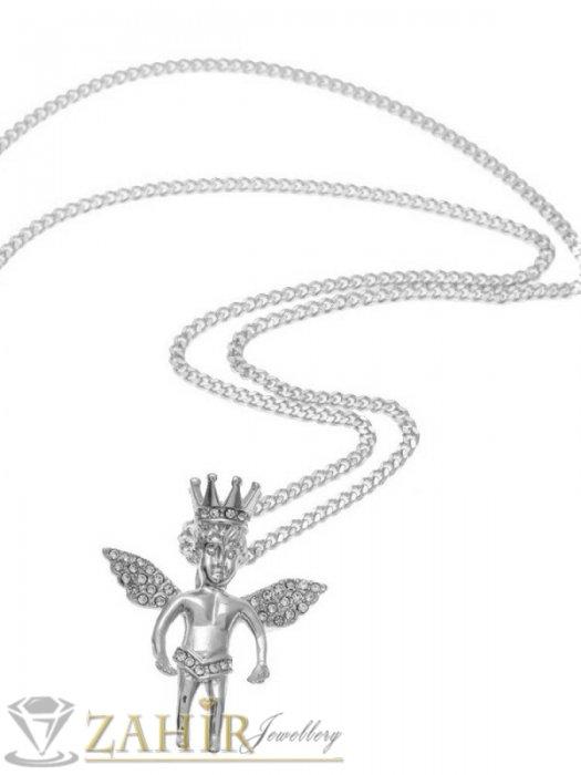 Бижута за мъже - Великолепен кристален ангел с рзмери 4,5 на 4 см,изящна изработка на тънка стоманена верижка в 4 размера - ML1555