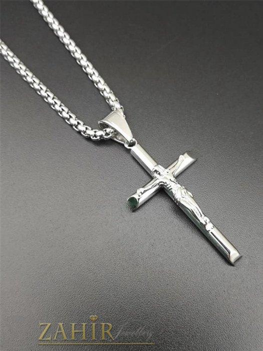 Бижута за мъже - Класика-изчистен кръст с Исус 4 на 2,5 см от неръждаема стомана на верижка в 4 размера, широка 0, 4 см - ML1557