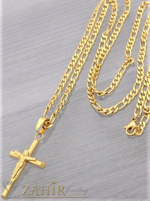 Фигаро верижка с изчистен кръст с Исус 4 на 2,5 см от позлатенаа стомана , 4 размера, широка 0, 4 см - ML1558