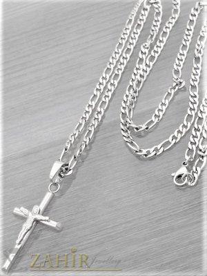 Фигаро верижка с изчистен кръст с Исус 4 на 2,5 см от неръждаема стомана , 4 размера, широка 0, 4 см - ML1559
