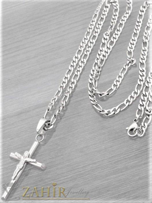 Бижута за мъже - Фигаро верижка с изчистен кръст с Исус 4 на 2,5 см от неръждаема стомана , 4 размера, широка 0, 4 см - ML1559