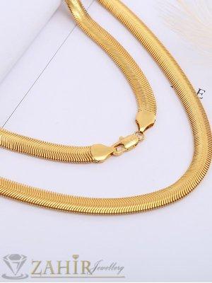 Стилен ланец със змийска плетка от стомана с вакумно позлатяване, дълъг 60 см, широк 0,6 см - ML1568