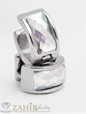 Непроменящи цвета си стоманени халкички с 2 лица и бели кристали, много нежни 1,5 см, английско закопчаване - O2685