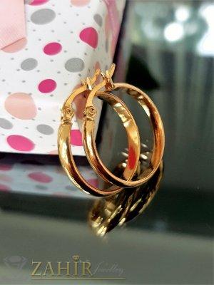 Малки красиви халки от стомана със златно покритие,диаметър  2,5 см, английско закопчаване - O2700