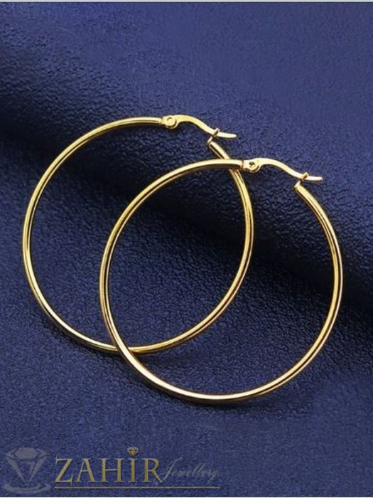 Дамски бижута - Най-желаните тънки позлатени халки от медицинска стомана, диаметър 6 см, английско закопчаване - O2710