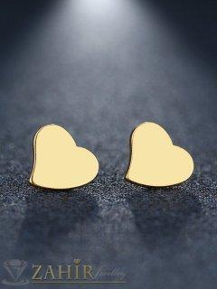 Много нежни малки обеци сърца 1,2 см от стомана със златно покритие, закопчаване на винт - O2726