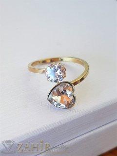Кристален стоманен пръстен с циркон и сърце, нов дизайн, нежен и елегантен, позлатен - P1517