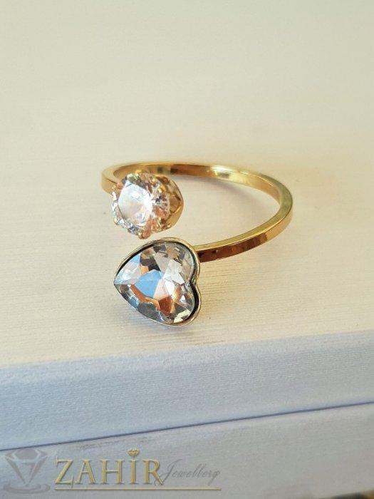 Дамски бижута - Кристален стоманен пръстен с циркон и сърце, нов дизайн, нежен и елегантен, позлатен - P1517