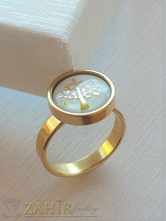 ХИТ нежен стоманен пръстен с Дървото на живота, гравиран върху бял седеф, позлатен - P1518