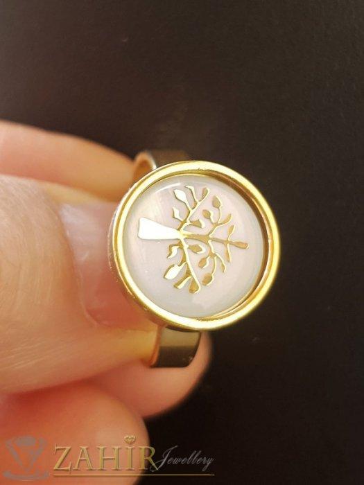 Дамски бижута - ХИТ нежен стоманен пръстен с Дървото на живота, гравиран върху бял седеф, позлатен - P1518