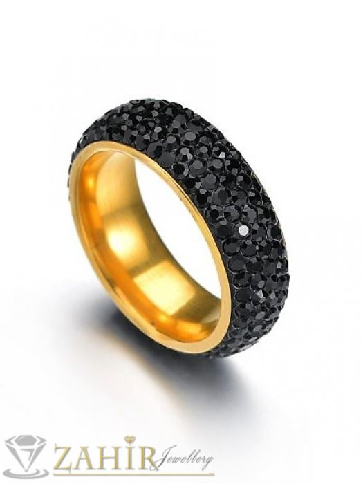 Дамски бижута - Хит модел черна кристална халка от неръждаема стомана с 5 реда черни кристали и златно покритие - P1525