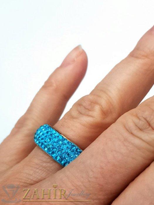 Дамски бижута - Синя хит модел кристална халка от неръждаема стомана с 5 реда светлосини кристали и златно покритие - P1526