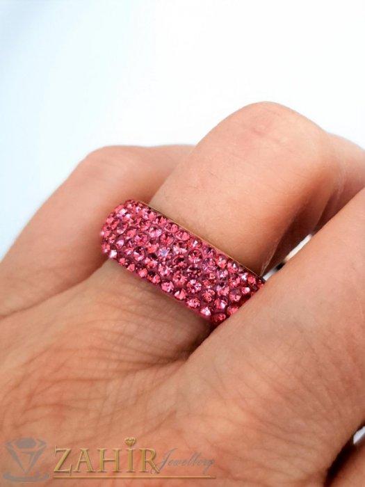 Дамски бижута - Розова хит модел кристална халка от неръждаема стомана с 5 реда розови кристали и златно покритие - P1527