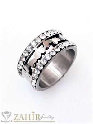 Кристална стоманена гравирана халка с 2 реда бели кристали, широка 1 см, лазерно рязана, не променя цвета си - P1535