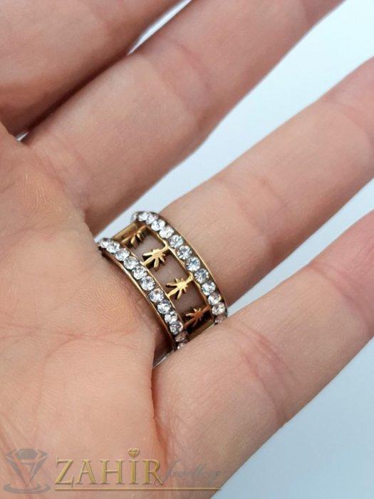 Дамски бижута - Позлатена стоманена гравирана халка с 2 реда бели кристали, широка 1 см, лазерно рязана с различни форми - P1539