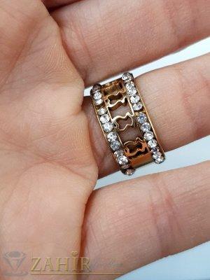 Позлатена стоманена гравирана халка с 2 реда бели кристали, широка 1 см, лазерно рязана с различни форми - P1540