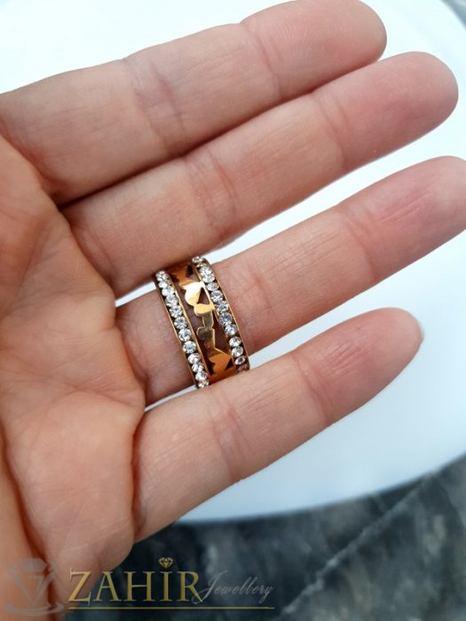 Дамски бижута - Позлатена стоманена гравирана халка с 2 реда бели кристали, широка 1 см, лазерно рязана с различни форми - P1541