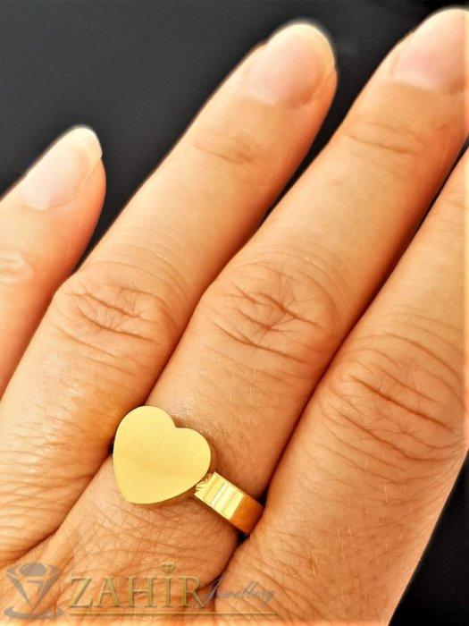 Дамски бижута - ТОП КАЧЕСТВО полирано стоманено сърце на класически пръстен, златно покритие, изящна изработка - P1544