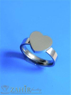 ТОП КАЧЕСТВО полирано стоманено сърце на класически пръстен, не променя цвета си, изящна изработка - P1545